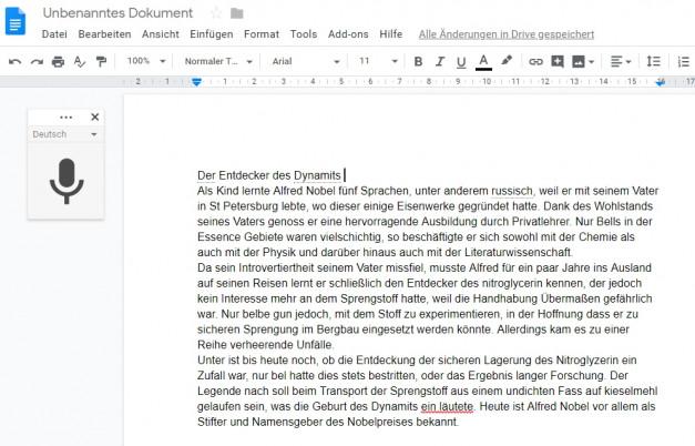 Screenshot Diktat in Google Docs